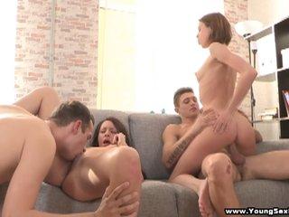 Teenage ladies sharing stiff dicks