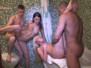 Hot sex party in a bathroom
